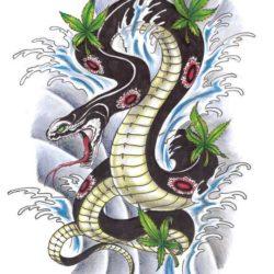 Цветной эскиз змеи среди волн