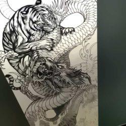 Тигр дерущийся с драконом