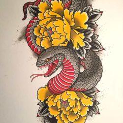 Змея с желтыми пионами
