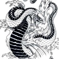 Эскиз змеи среди волн
