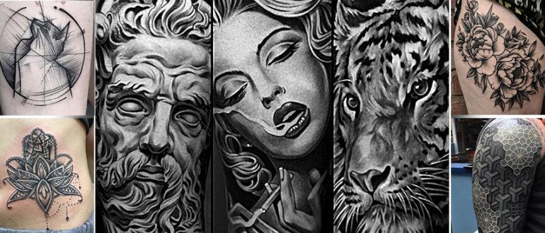 Черно белые татуировки