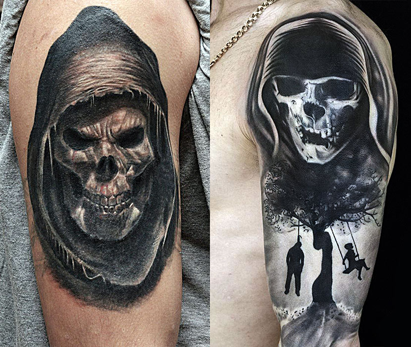 Черно-белые татуировки смерти у мужчин на руке