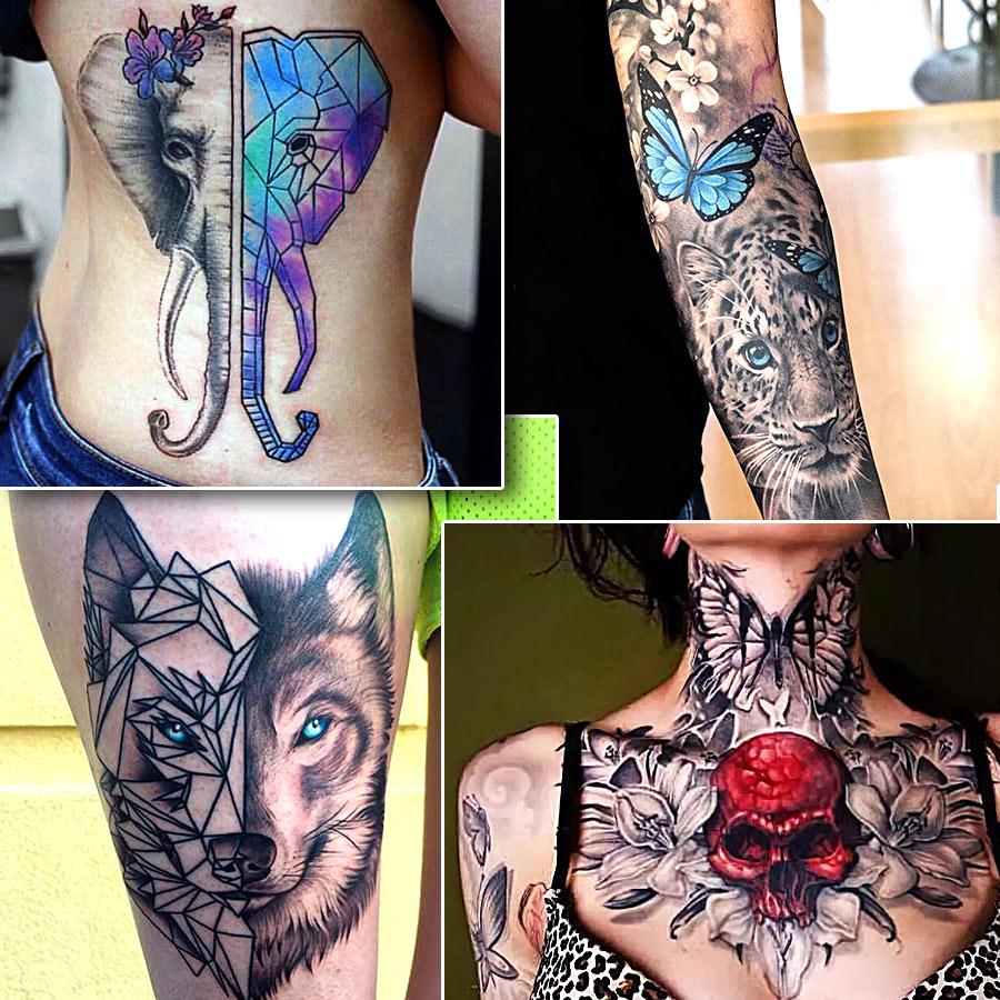 Черно белые татуировки с дополнением цветных деталей