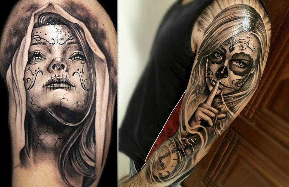Красиво смотрятся черно-белые татуировки в стиле чикано