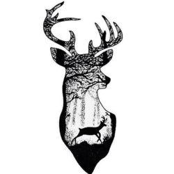 Эскиз тату оленя в стиле силуэт