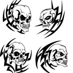 Четыре варианта тату черепов с трайбл узором