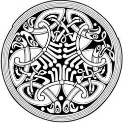 Черно белый эскиз тату в кельтском стиле