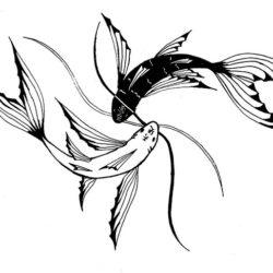 Черно белый эскиз тату рыб