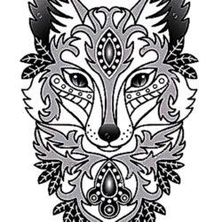 Черно белый женской эскиз тату лисы