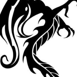 Черно белый эскиз тату дракон